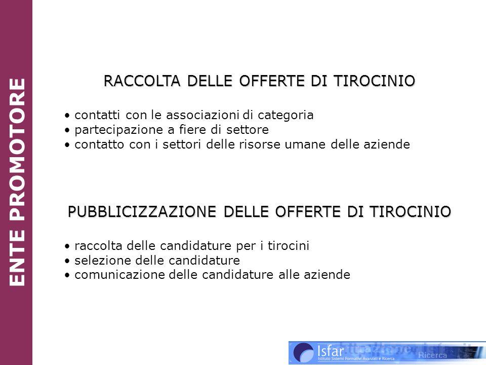 ENTE PROMOTORE RACCOLTA DELLE OFFERTE DI TIROCINIO