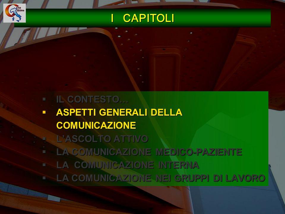I CAPITOLI IL CONTESTO… ASPETTI GENERALI DELLA COMUNICAZIONE