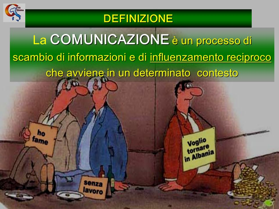DEFINIZIONE La COMUNICAZIONE è un processo di scambio di informazioni e di influenzamento reciproco che avviene in un determinato contesto.