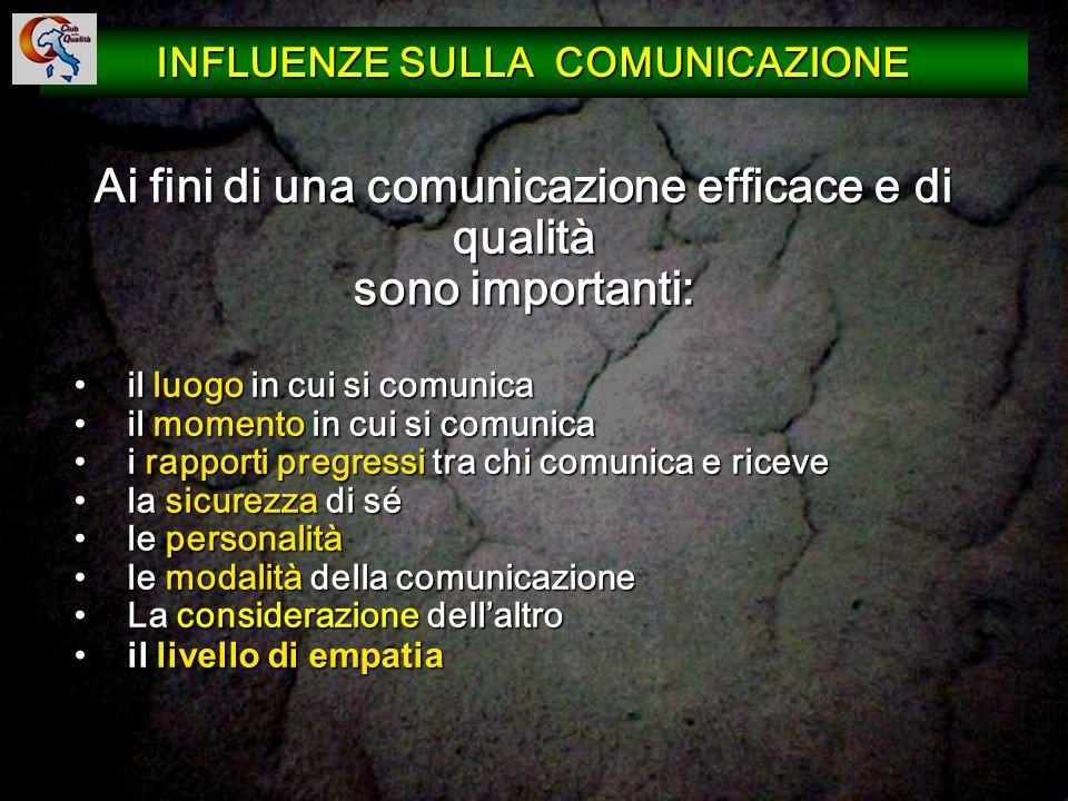 Ai fini di una comunicazione efficace e di qualità sono importanti: