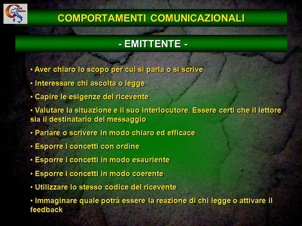COMPORTAMENTI COMUNICAZIONALI