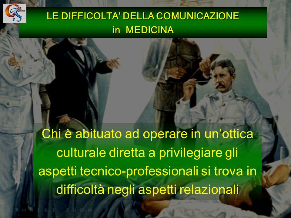 LE DIFFICOLTA' DELLA COMUNICAZIONE in MEDICINA