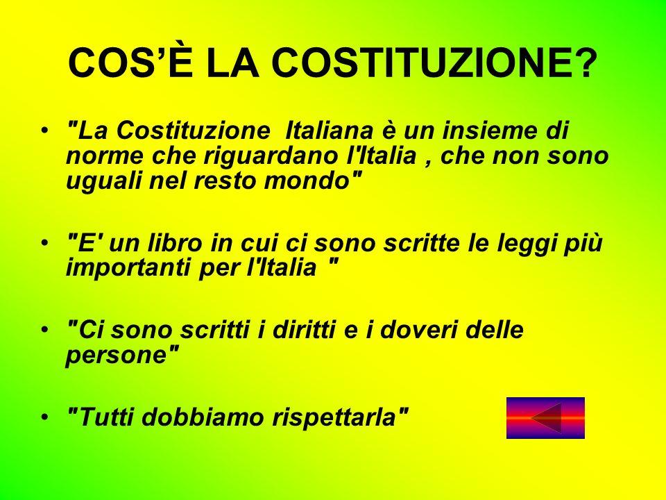 COS'È LA COSTITUZIONE La Costituzione Italiana è un insieme di norme che riguardano l Italia , che non sono uguali nel resto mondo