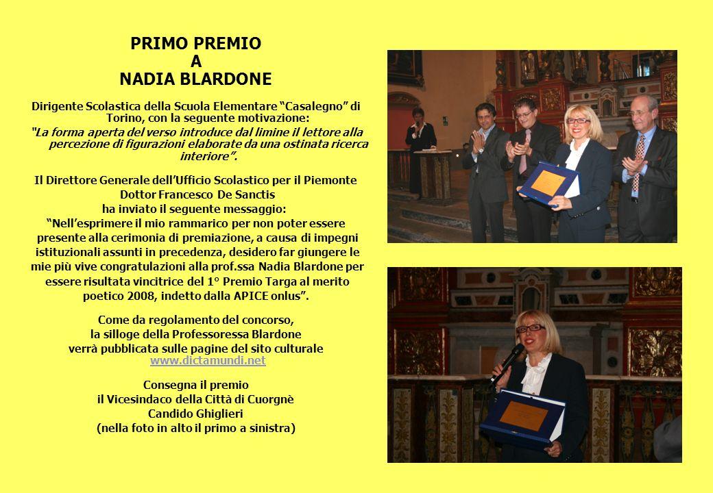 PRIMO PREMIO A NADIA BLARDONE