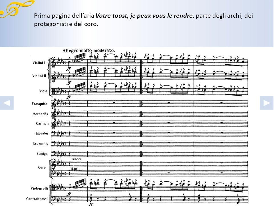 Prima pagina dell'aria Votre toast, je peux vous le rendre, parte degli archi, dei protagonisti e del coro.