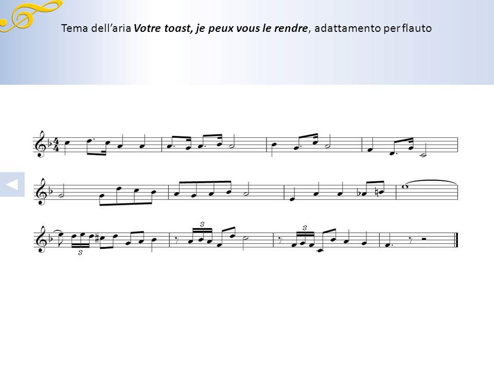 Tema dell'aria Votre toast, je peux vous le rendre, adattamento per flauto