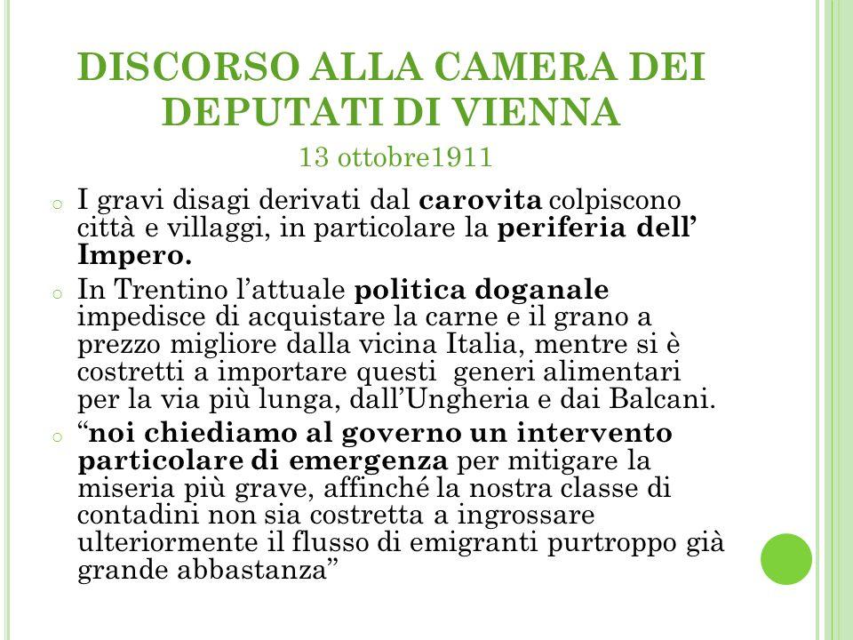 DISCORSO ALLA CAMERA DEI DEPUTATI DI VIENNA 13 ottobre1911