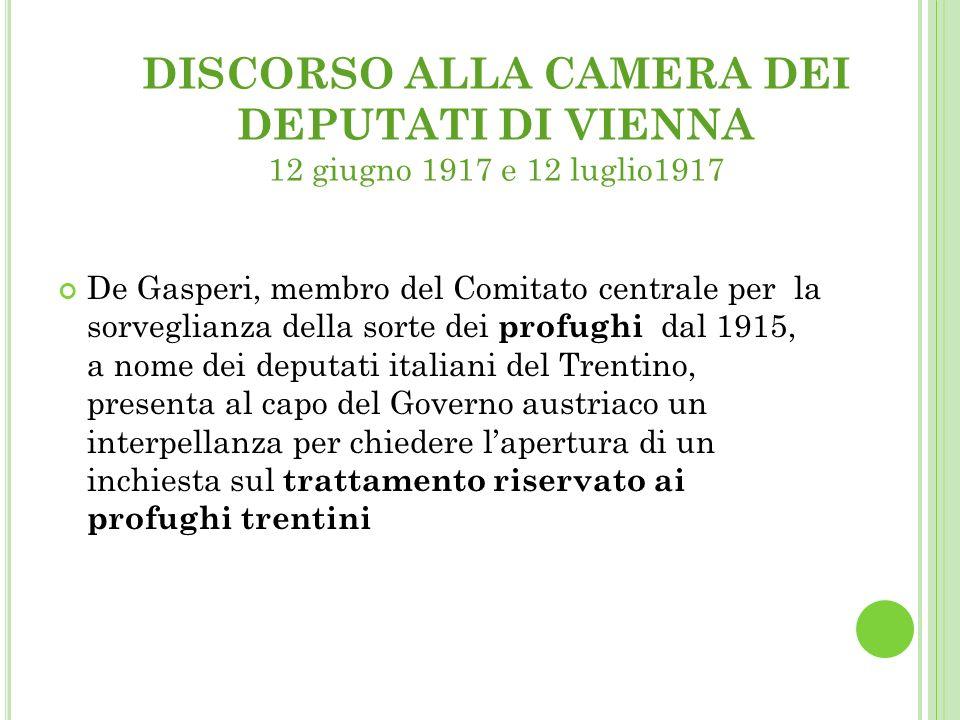 DISCORSO ALLA CAMERA DEI DEPUTATI DI VIENNA 12 giugno 1917 e 12 luglio1917