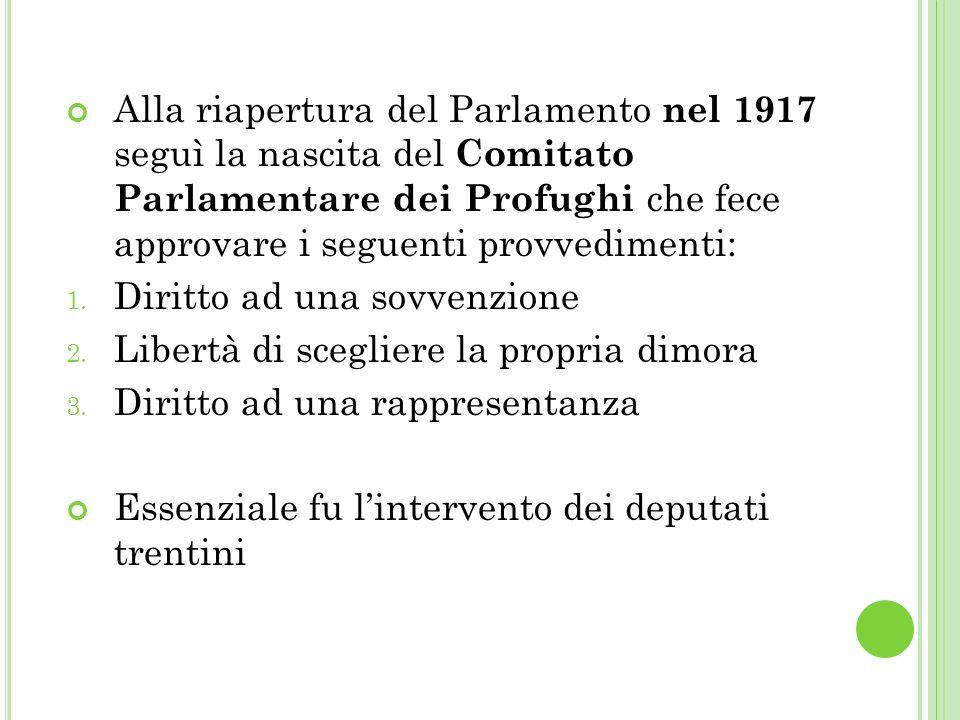 Alla riapertura del Parlamento nel 1917 seguì la nascita del Comitato Parlamentare dei Profughi che fece approvare i seguenti provvedimenti: