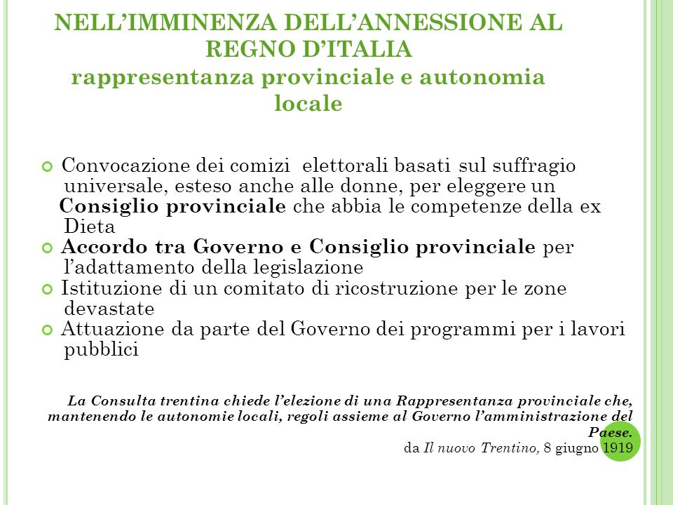 NELL'IMMINENZA DELL'ANNESSIONE AL REGNO D'ITALIA rappresentanza provinciale e autonomia locale
