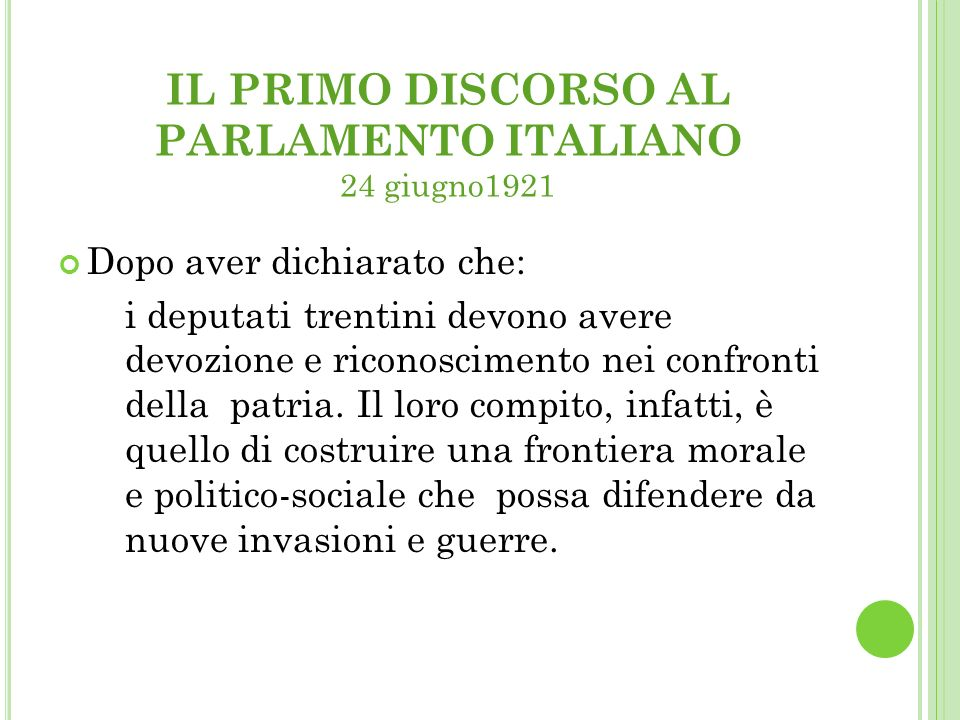 IL PRIMO DISCORSO AL PARLAMENTO ITALIANO 24 giugno1921