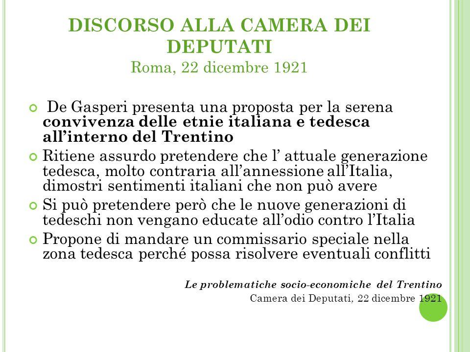 DISCORSO ALLA CAMERA DEI DEPUTATI Roma, 22 dicembre 1921