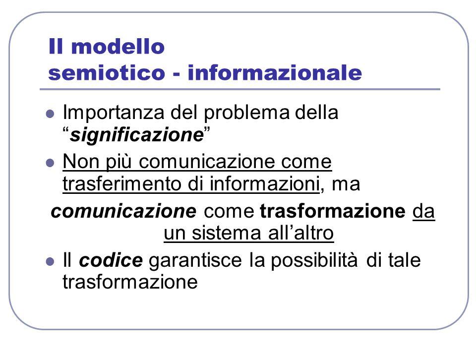 Il modello semiotico - informazionale