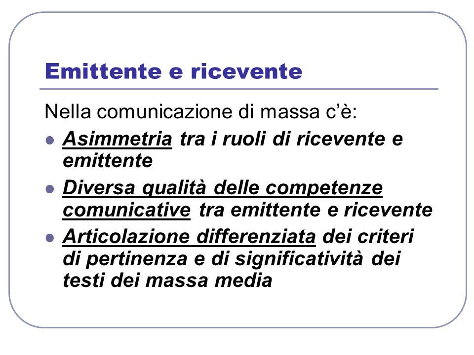 Emittente e ricevente Nella comunicazione di massa c'è: