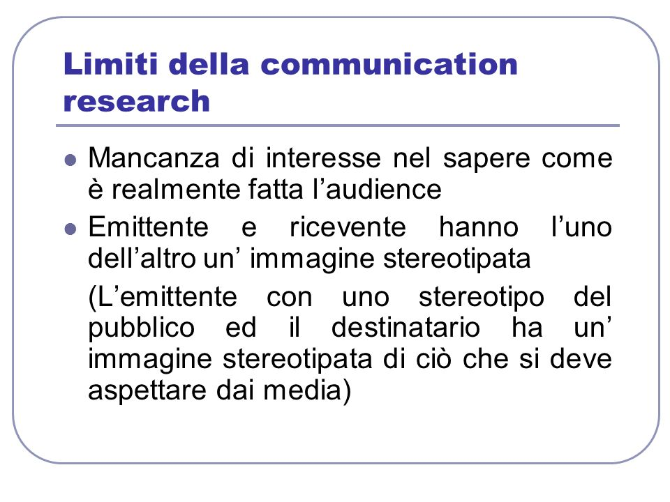 Limiti della communication research
