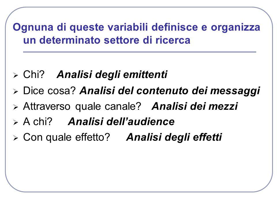Ognuna di queste variabili definisce e organizza un determinato settore di ricerca