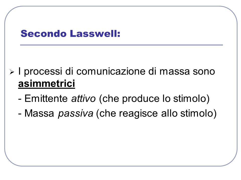 I processi di comunicazione di massa sono asimmetrici