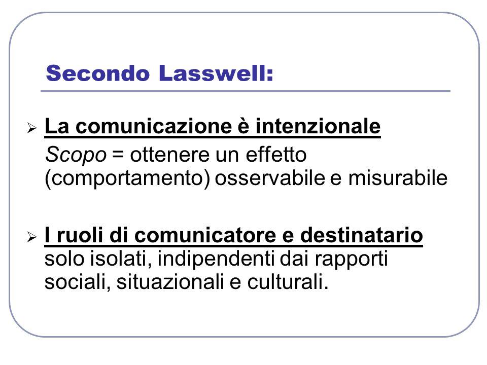 Secondo Lasswell: La comunicazione è intenzionale