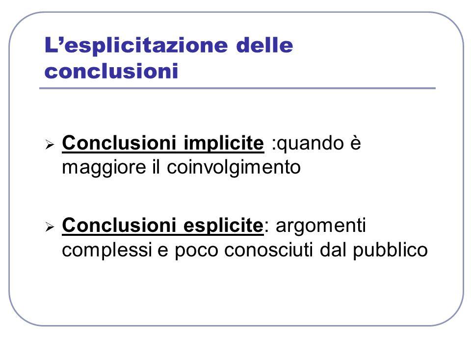L'esplicitazione delle conclusioni