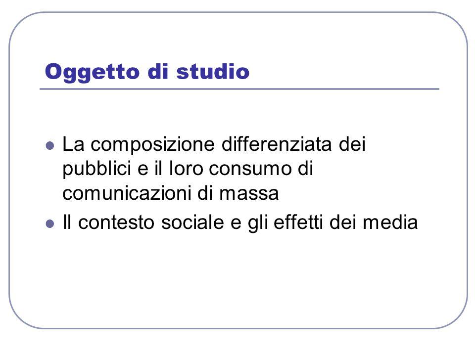 Oggetto di studio La composizione differenziata dei pubblici e il loro consumo di comunicazioni di massa.