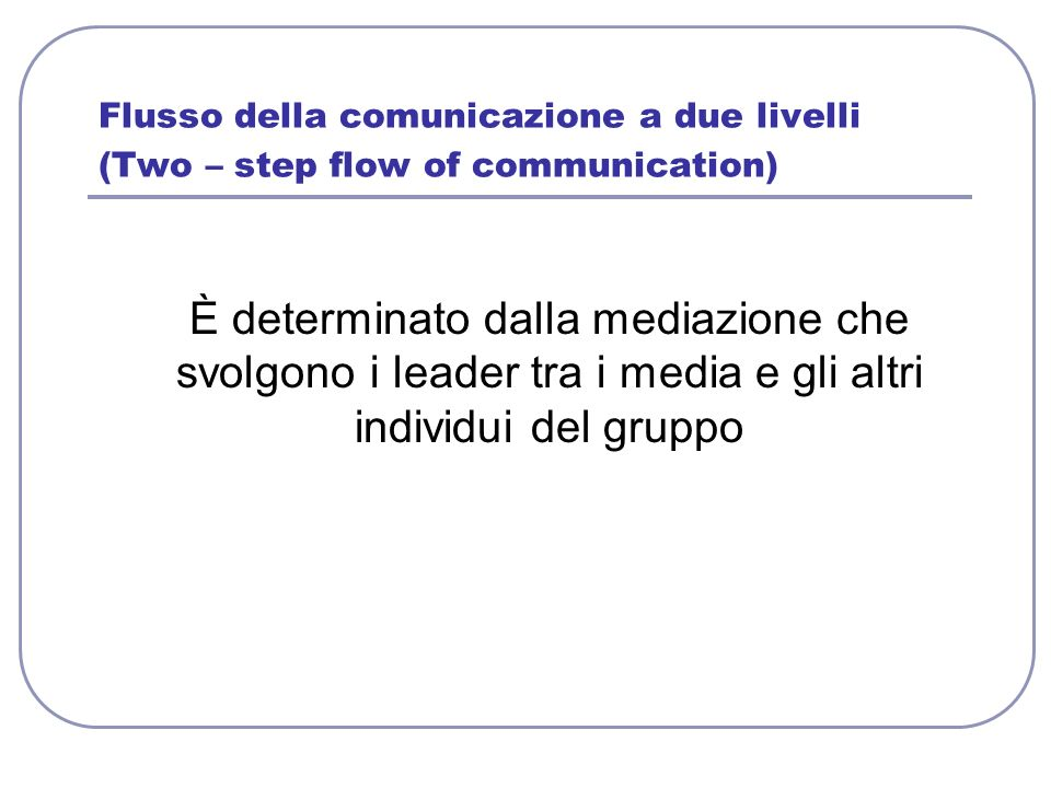 Flusso della comunicazione a due livelli (Two – step flow of communication)