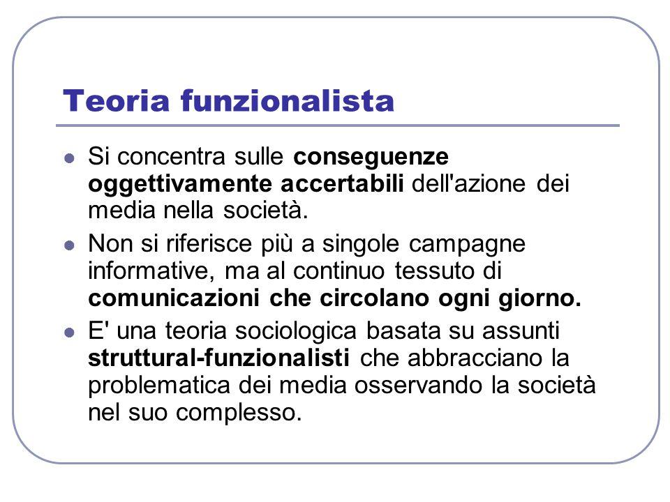 Teoria funzionalista Si concentra sulle conseguenze oggettivamente accertabili dell azione dei media nella società.