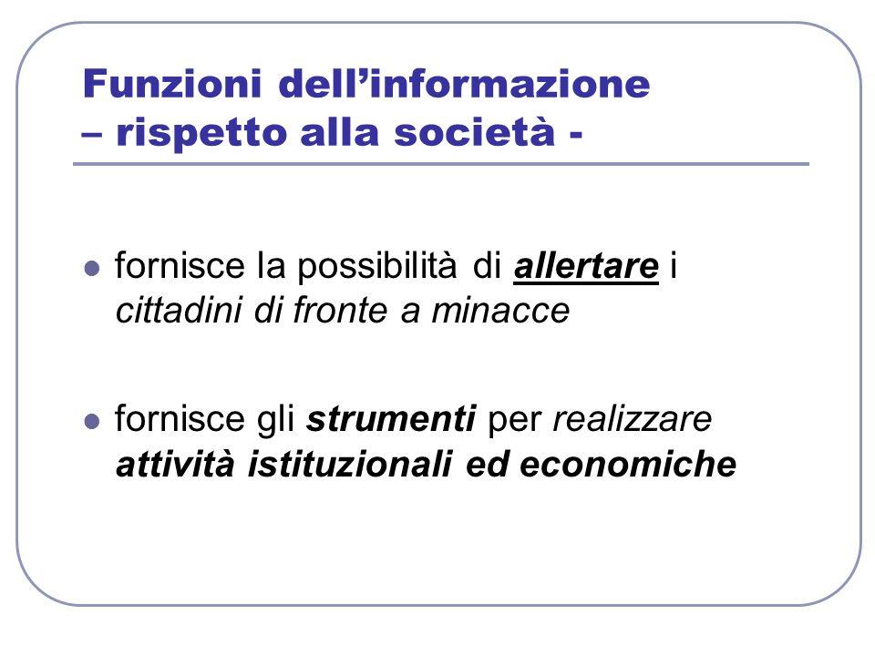 Funzioni dell'informazione – rispetto alla società -
