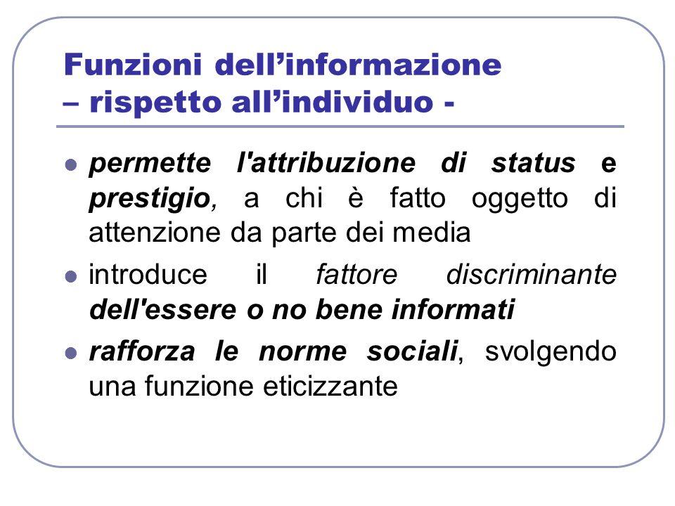 Funzioni dell'informazione – rispetto all'individuo -