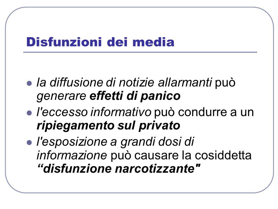 Disfunzioni dei media la diffusione di notizie allarmanti può generare effetti di panico.