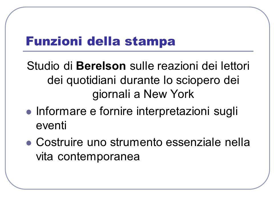 Funzioni della stampa Studio di Berelson sulle reazioni dei lettori dei quotidiani durante lo sciopero dei giornali a New York.