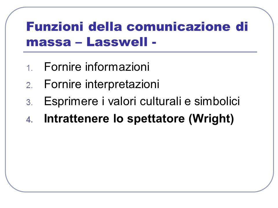 Funzioni della comunicazione di massa – Lasswell -