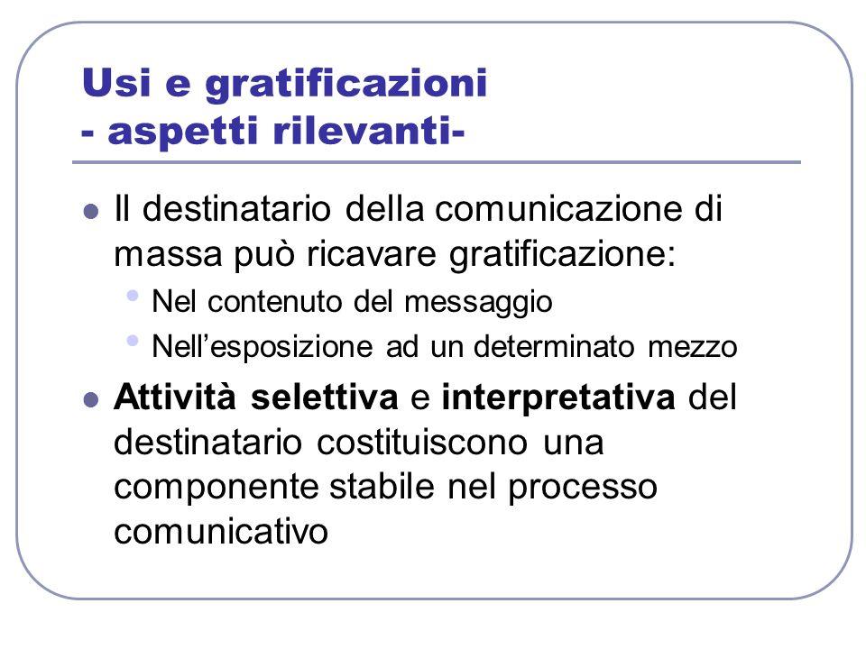 Usi e gratificazioni - aspetti rilevanti-