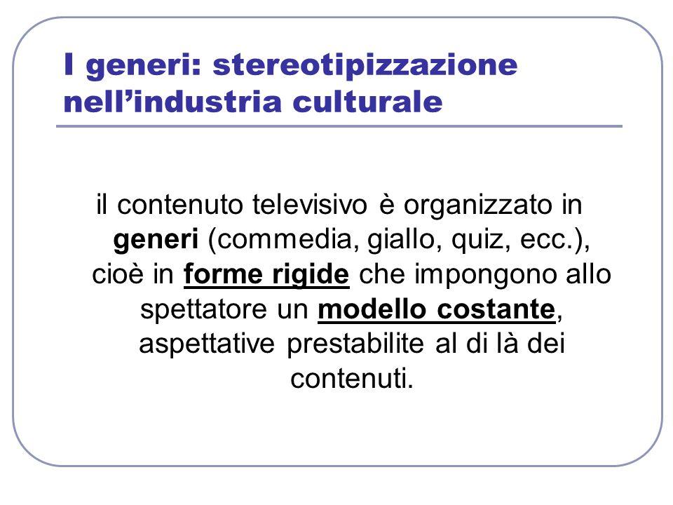 I generi: stereotipizzazione nell'industria culturale