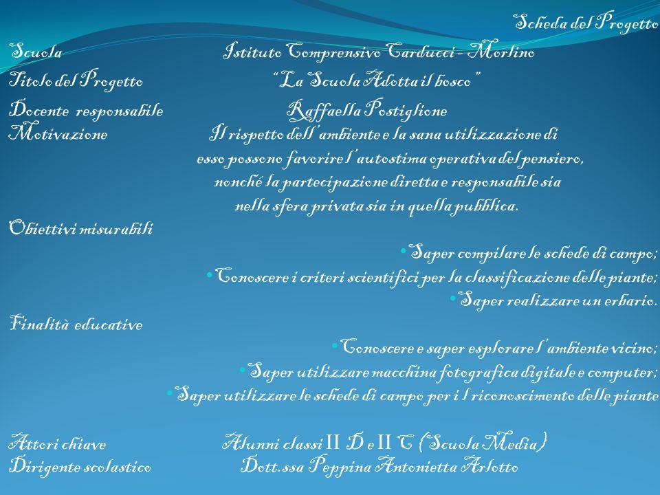 Scheda del Progetto Scuola Istituto Comprensivo Carducci - Morlino.