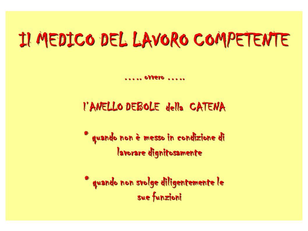 Il MEDICO DEL LAVORO COMPETENTE …. ovvero …