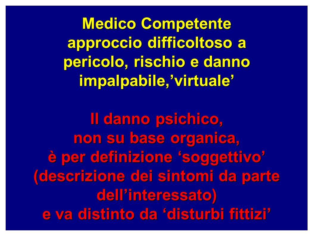Medico Competente approccio difficoltoso a pericolo, rischio e danno impalpabile,'virtuale' Il danno psichico, non su base organica, è per definizione 'soggettivo' (descrizione dei sintomi da parte dell'interessato) e va distinto da 'disturbi fittizi'