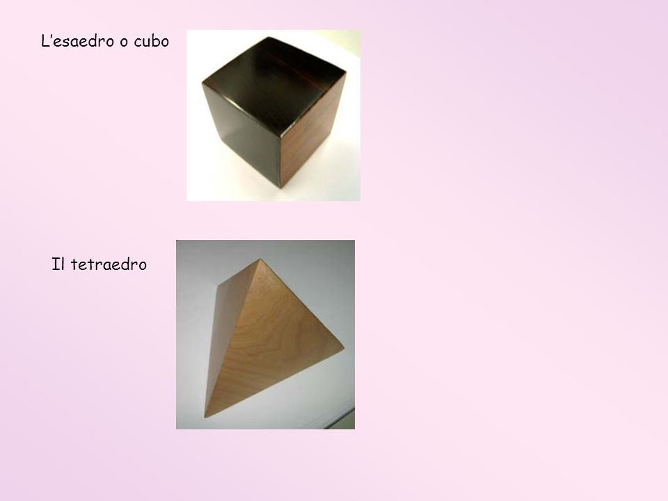 L'esaedro o cubo Il tetraedro
