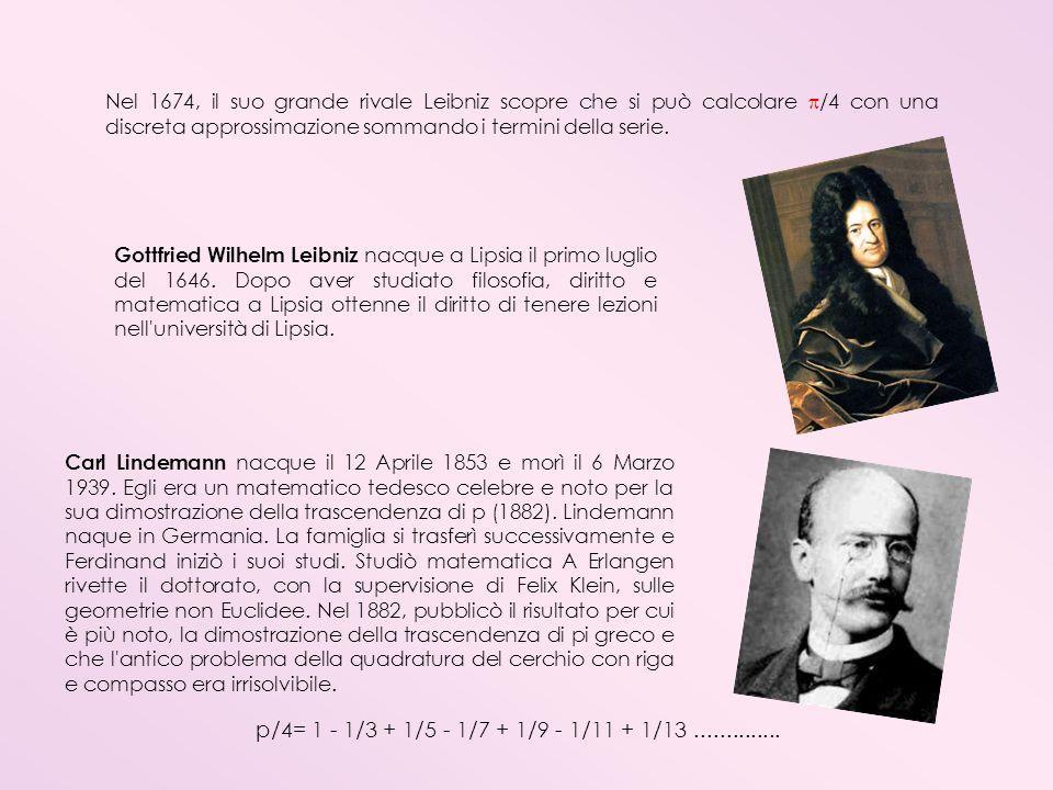 Nel 1674, il suo grande rivale Leibniz scopre che si può calcolare /4 con una discreta approssimazione sommando i termini della serie.