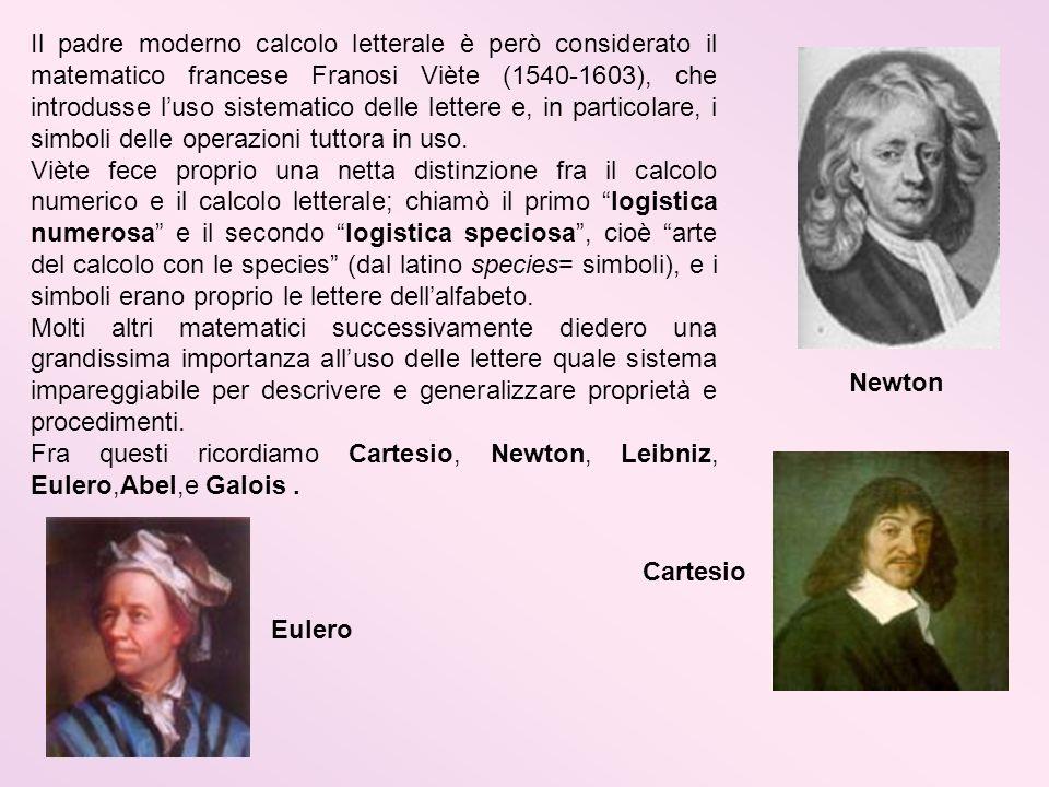 Il padre moderno calcolo letterale è però considerato il matematico francese Franosi Viète (1540-1603), che introdusse l'uso sistematico delle lettere e, in particolare, i simboli delle operazioni tuttora in uso.
