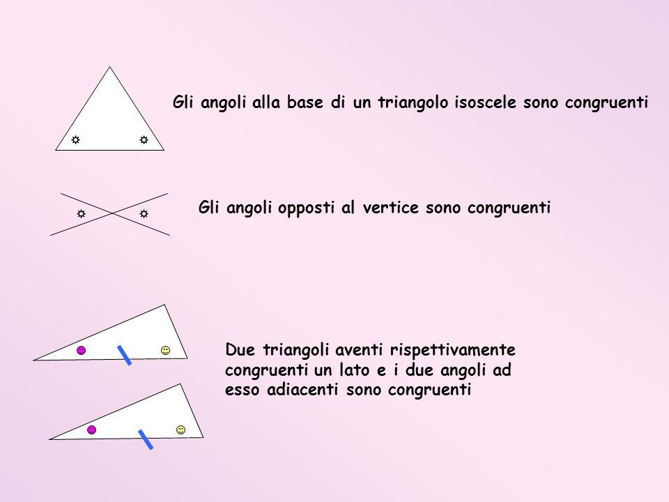 Gli angoli alla base di un triangolo isoscele sono congruenti