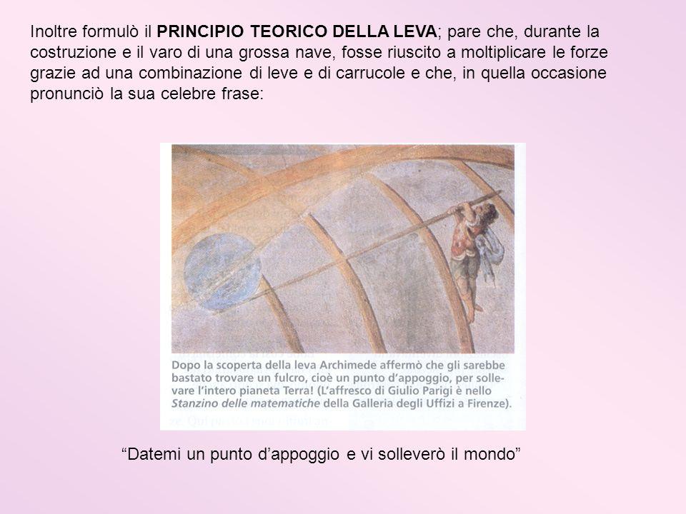Inoltre formulò il PRINCIPIO TEORICO DELLA LEVA; pare che, durante la costruzione e il varo di una grossa nave, fosse riuscito a moltiplicare le forze grazie ad una combinazione di leve e di carrucole e che, in quella occasione pronunciò la sua celebre frase: