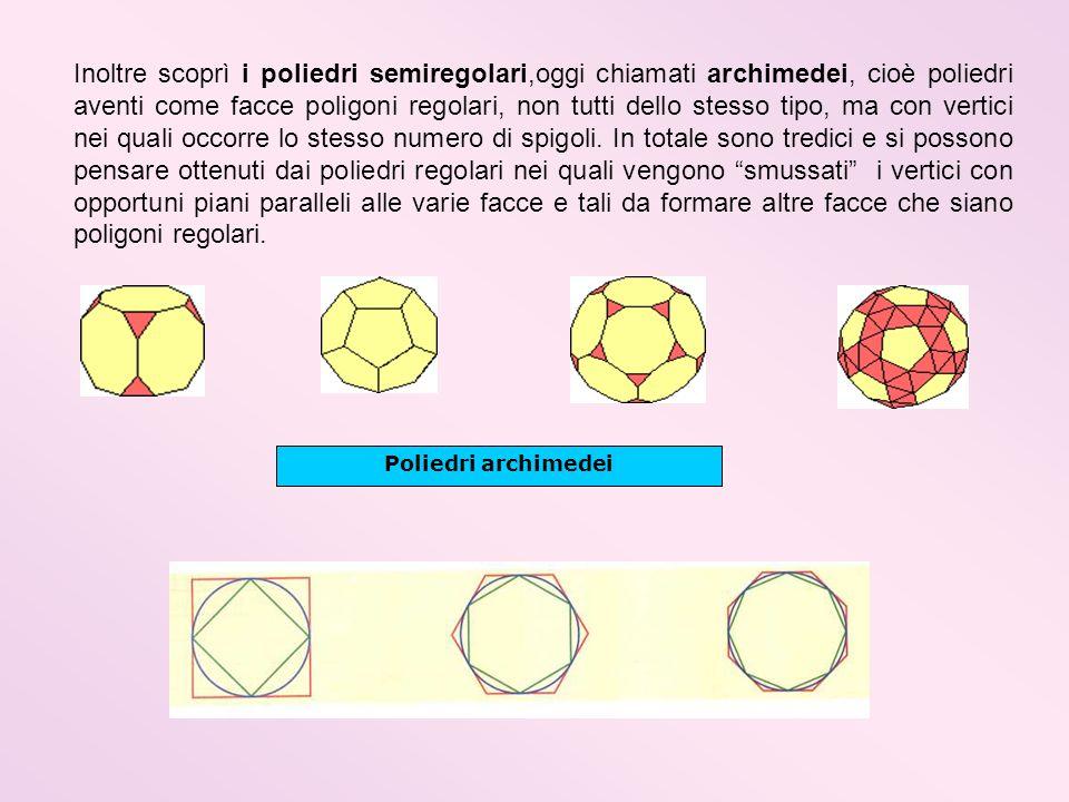 Inoltre scoprì i poliedri semiregolari,oggi chiamati archimedei, cioè poliedri aventi come facce poligoni regolari, non tutti dello stesso tipo, ma con vertici nei quali occorre lo stesso numero di spigoli. In totale sono tredici e si possono pensare ottenuti dai poliedri regolari nei quali vengono smussati i vertici con opportuni piani paralleli alle varie facce e tali da formare altre facce che siano poligoni regolari.
