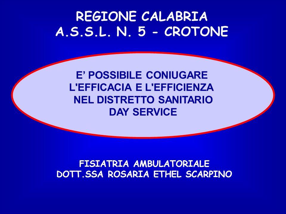 REGIONE CALABRIA A.S.S.L. N. 5 - CROTONE L EFFICACIA E L EFFICIENZA