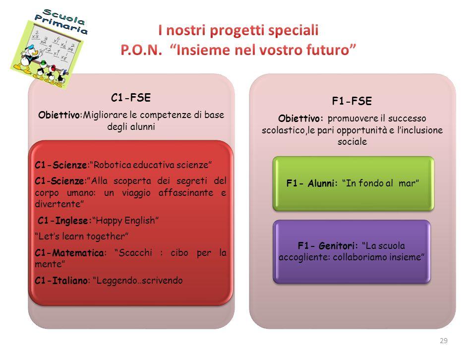 I nostri progetti speciali P.O.N. Insieme nel vostro futuro