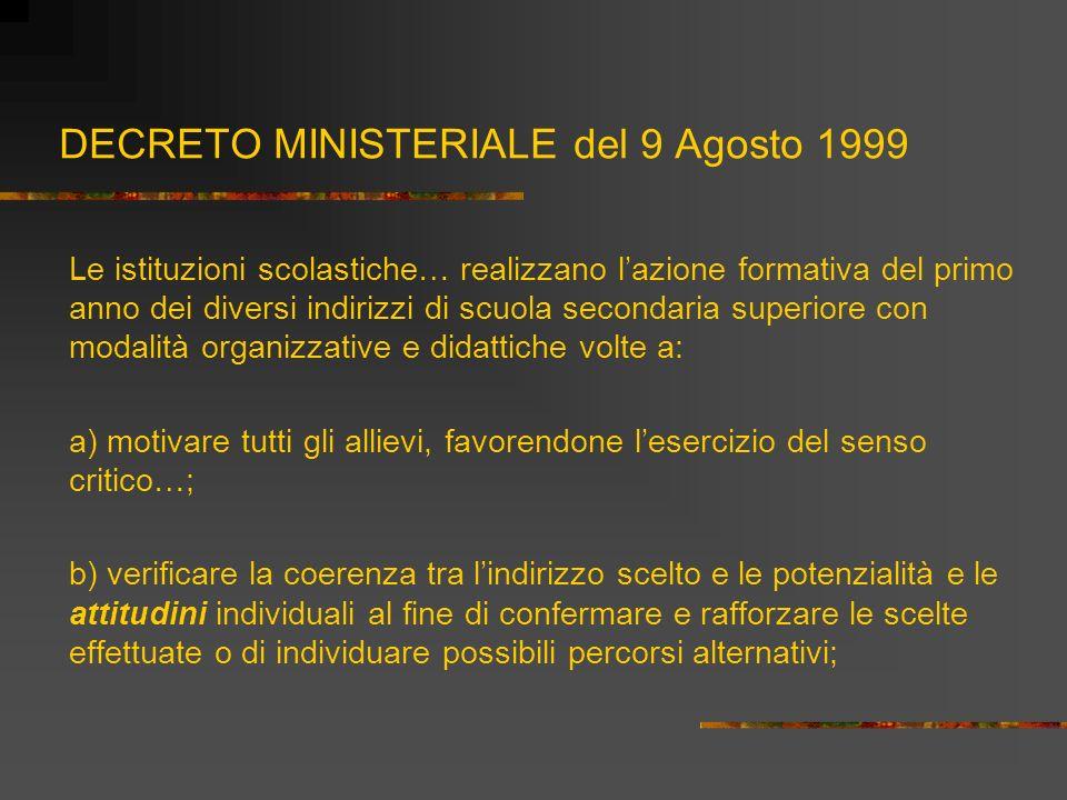 DECRETO MINISTERIALE del 9 Agosto 1999