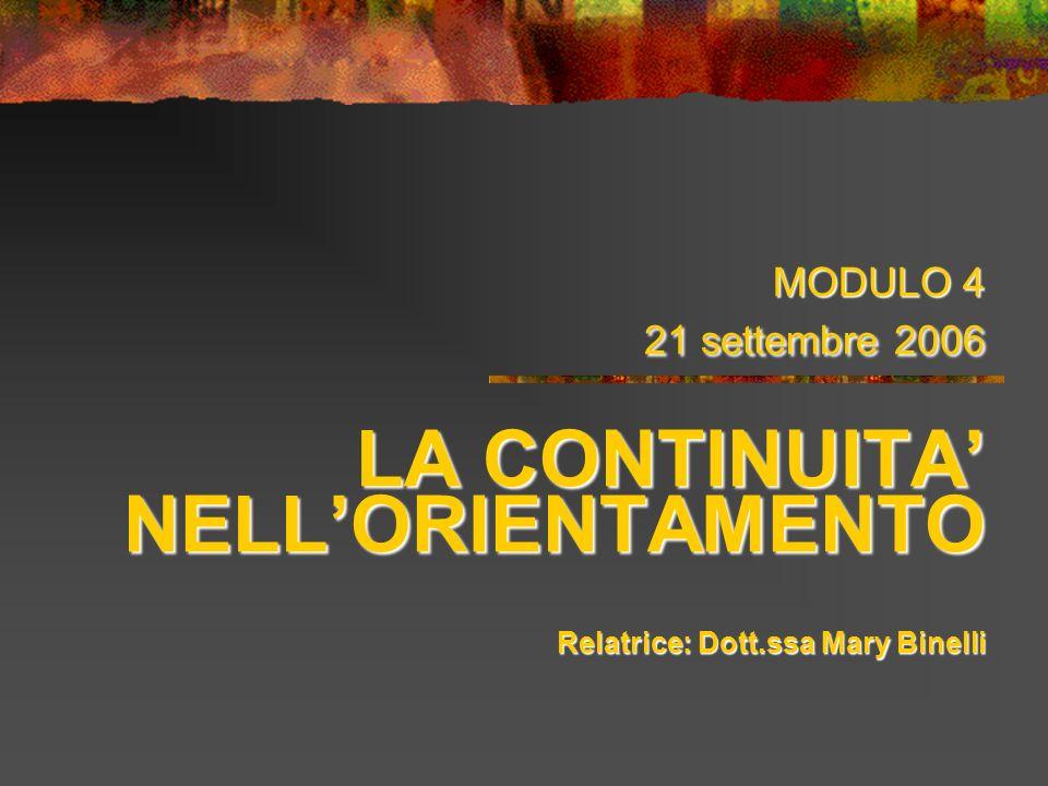 MODULO 4 21 settembre 2006 LA CONTINUITA' NELL'ORIENTAMENTO Relatrice: Dott.ssa Mary Binelli