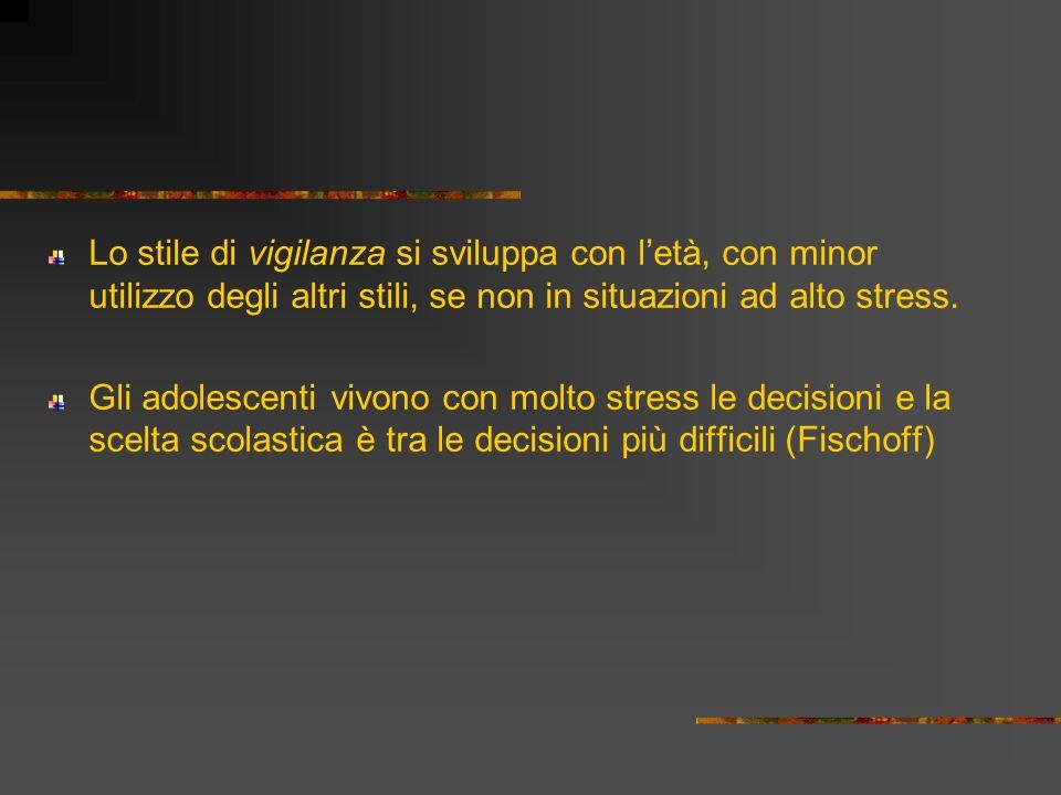 Lo stile di vigilanza si sviluppa con l'età, con minor utilizzo degli altri stili, se non in situazioni ad alto stress.