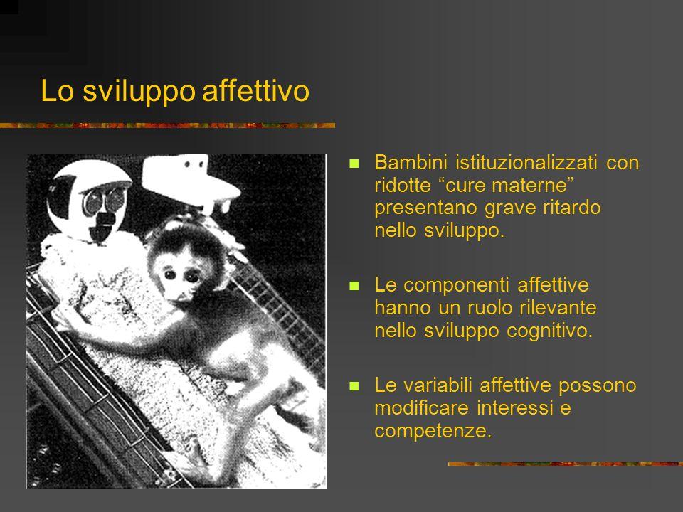 Lo sviluppo affettivoBambini istituzionalizzati con ridotte cure materne presentano grave ritardo nello sviluppo.
