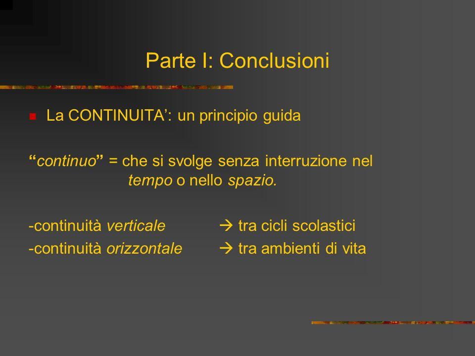 Parte I: Conclusioni La CONTINUITA': un principio guida