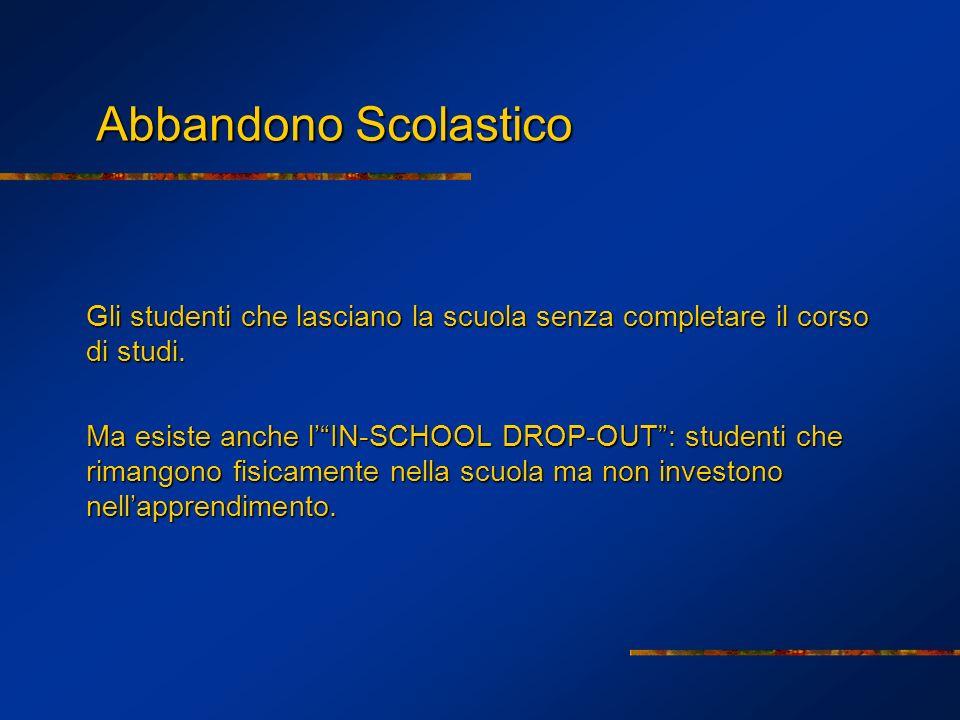 Abbandono Scolastico Gli studenti che lasciano la scuola senza completare il corso di studi.